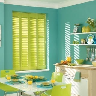 Light room with yellow shutters