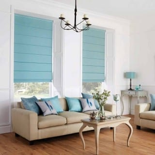 Blue blinds in modern living room
