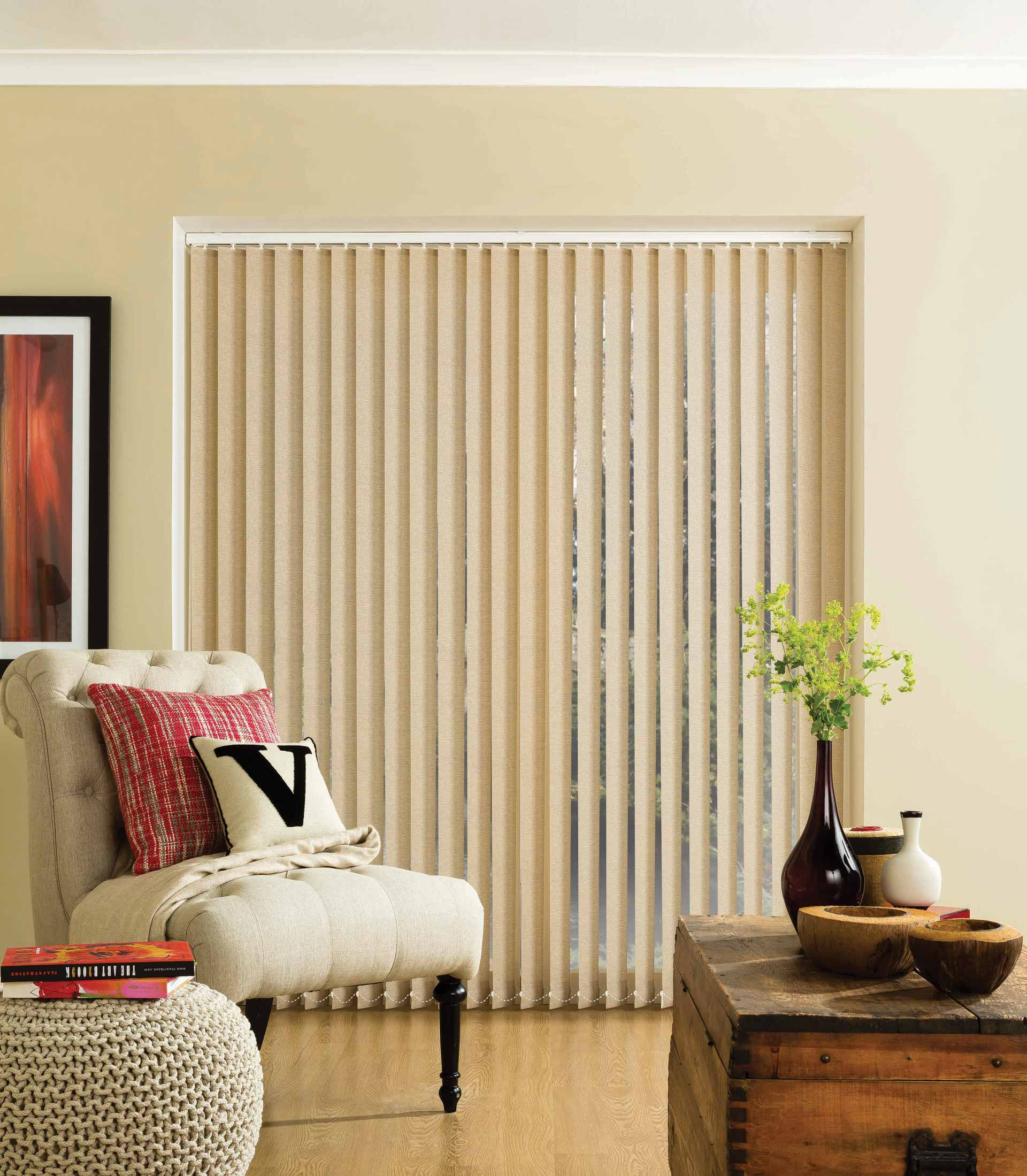 Parchment vertical blinds