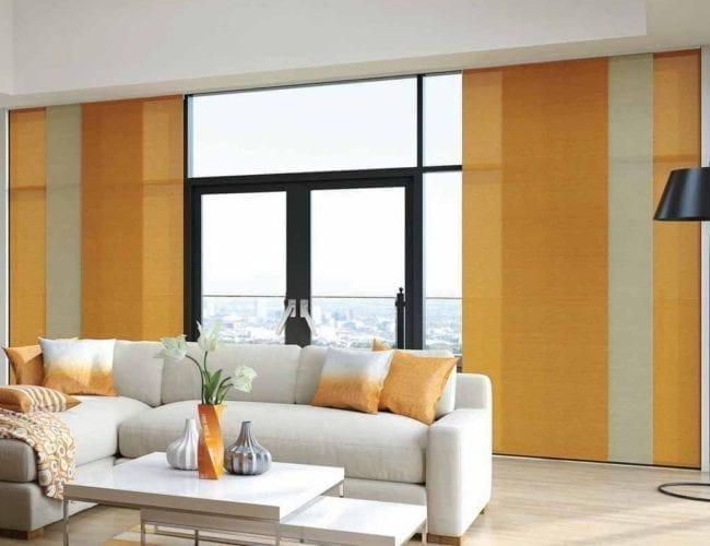 Orange belize blinds in modern living room