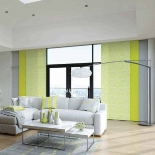 Green and grey blinds in modern living room