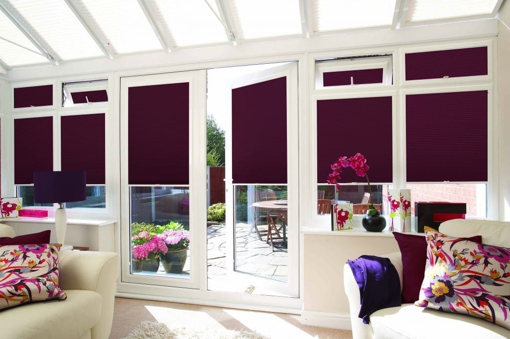 Burgundy pleated blinds