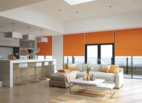 Orange belize blinds in modern living room