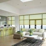 Green roller blinds in modern living room