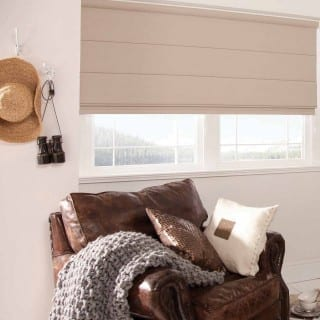 Light brown roller blinds in living room