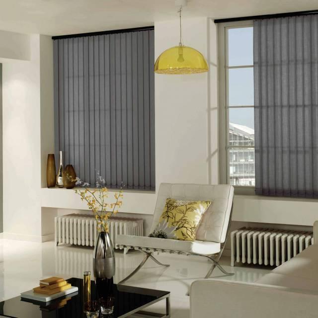 Pewter vertical blinds