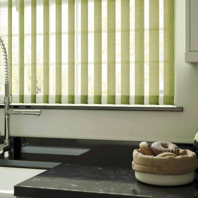 Green linen vertical blinds