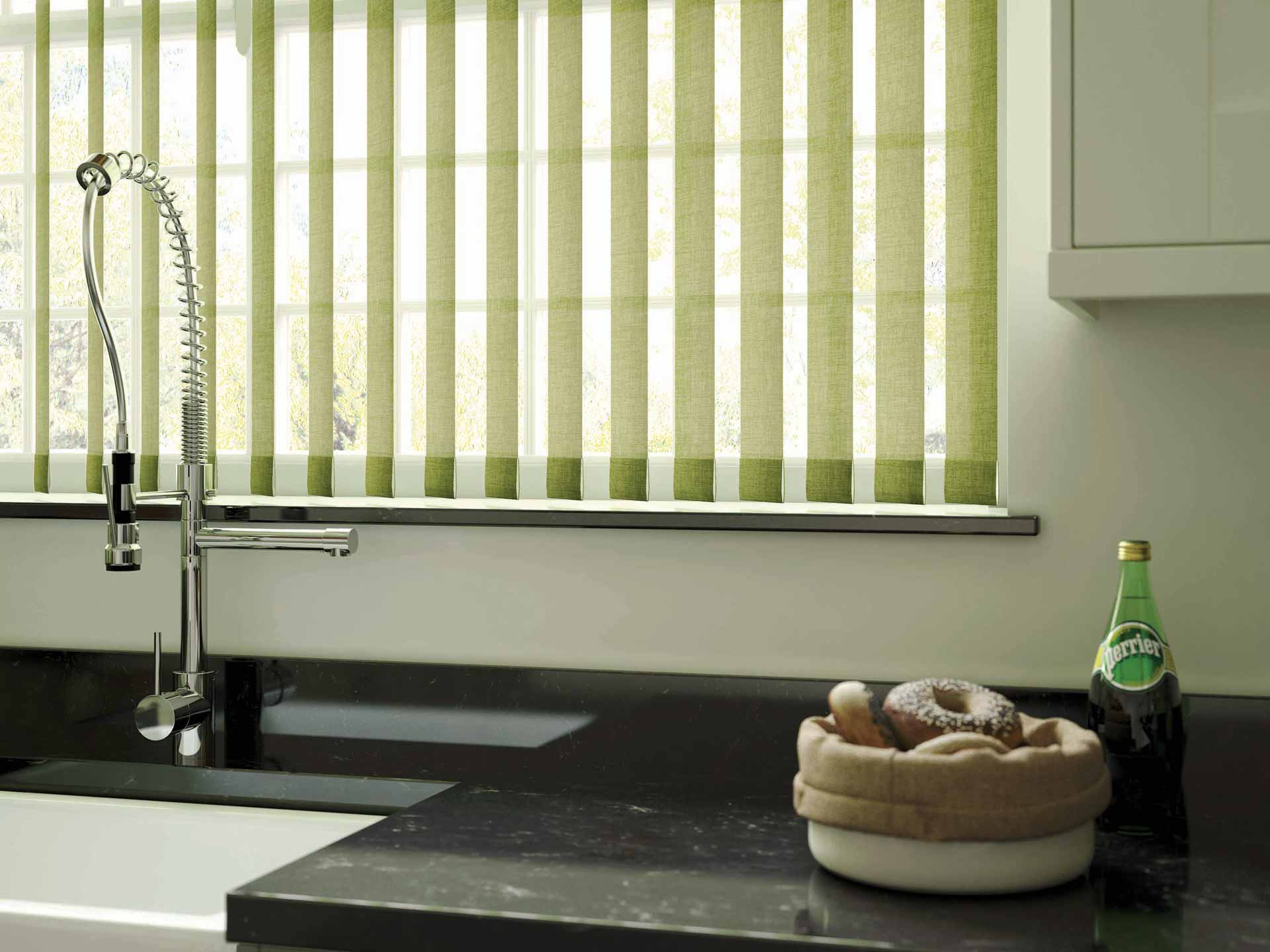 Green linen vertical blinds