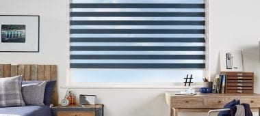 Striped navy motorised blind