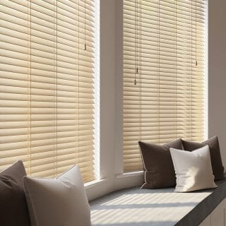 Window seat with Wooden Blinds