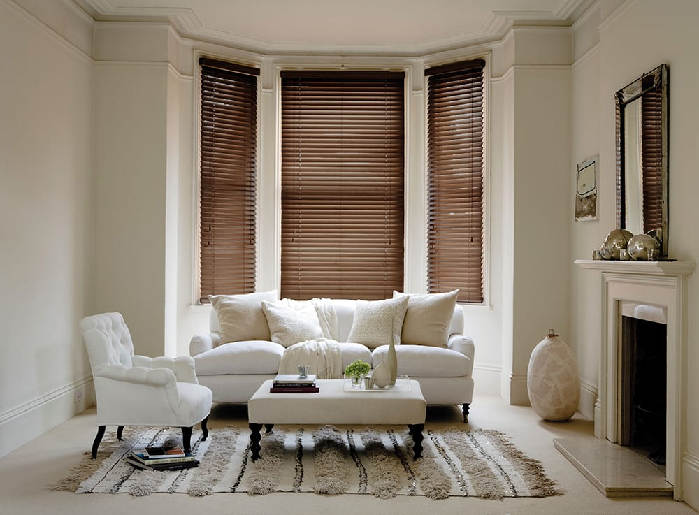 Bay window with wooden blinds