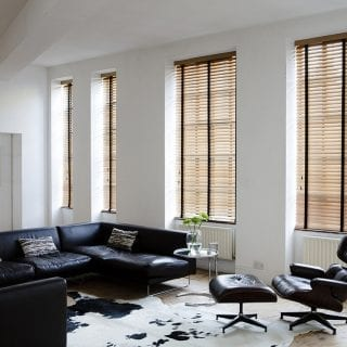 Wooden blinds in livingroom