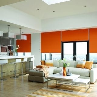 Orange motorised roller blinds