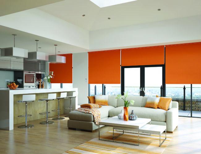 Orange motorised roller blinds