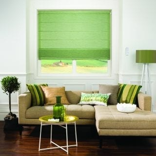 Olive green motorised blind