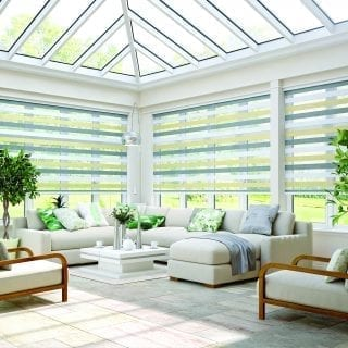 Motorised vision blinds in a conservatory