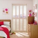 Pearl shutters in the bedroom