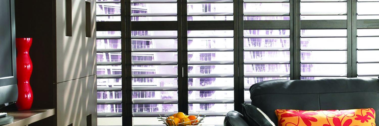 Black shutters in a masculine apartment