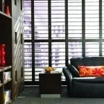 Black shutters in a masculine apartment