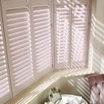 Bay window shutters in latte colour