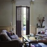 Teak coloured shutters in the livingroom