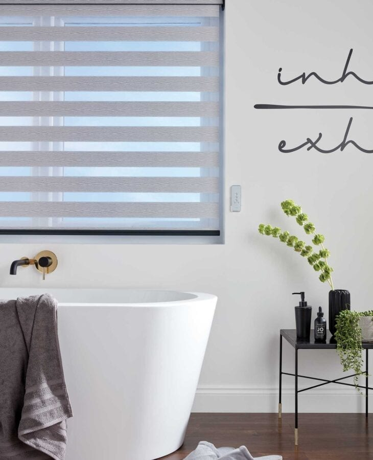 Vision Tuscany Dove Grey blinds in a bathroom