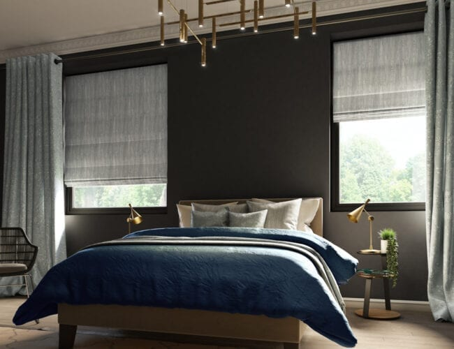 Nevin Sage roman blinds in a bedroom