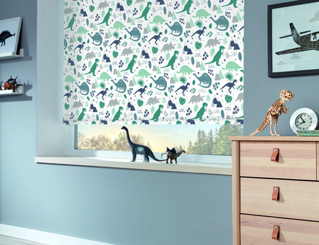 Jurassic Marine roller blinds in a bedroom