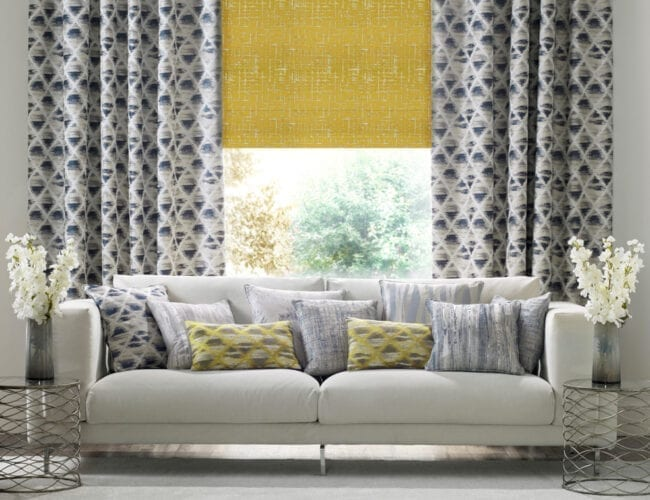 Maverick Mimosa roman blinds in a living room
